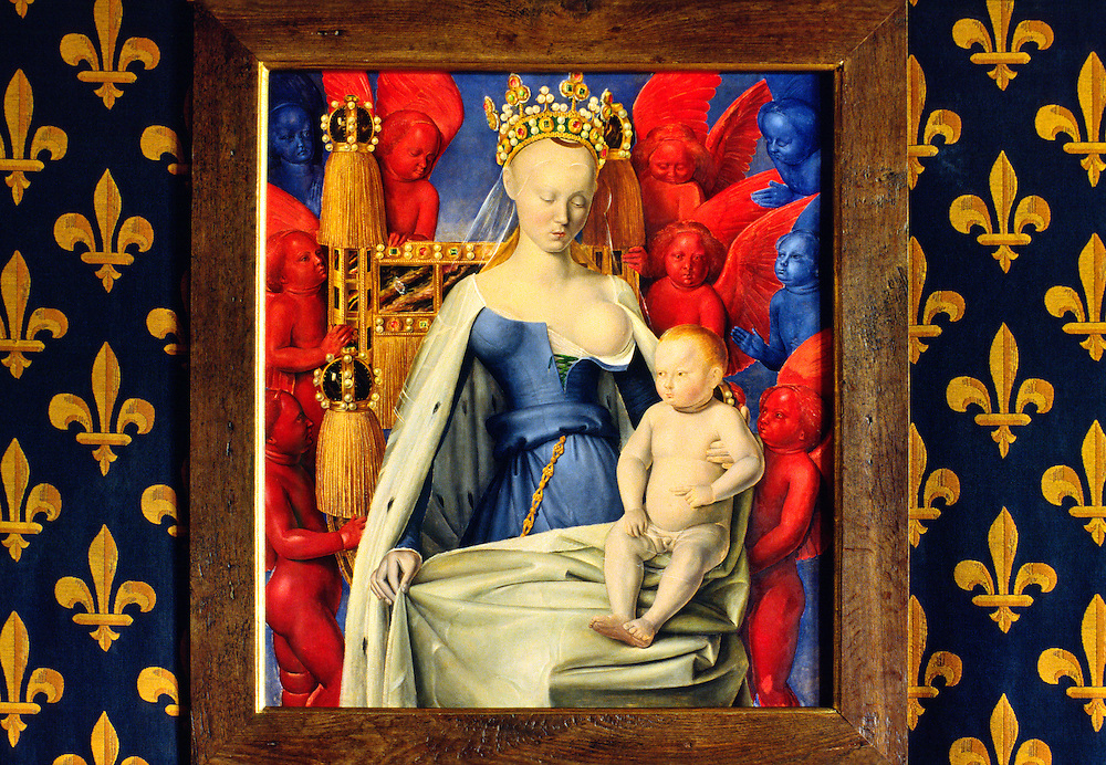 15th C. portrait of Agnes Sorel as the Madonna, favourite of King Charles VII, in the Chateau de Loches, Indre et Loire, France
