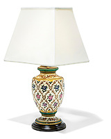 roses and gold lamp with square shade with black base