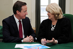 Leader of the Conservative Party David Cameron with Cheryl Gillan, Member of Parliament for Chesham and Amersham in his office in Norman Shaw South, January 7, 2010. Photo By Andrew Parsons / i-Images.
