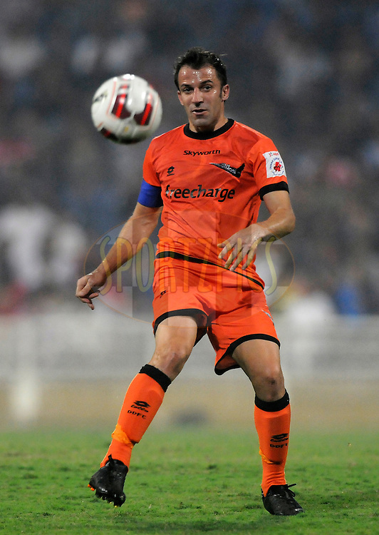 Alessandro Del Piero of Delhi Dynamos FC during match 22 of the Hero Indian Super League between Mumbai City FC and Delhi Dynamos FC City held at the D.Y. Patil Stadium, Navi Mumbai, India on the 5th November.<br /> <br /> Photo by:  Pal Pillai/ ISL/ SPORTZPICS
