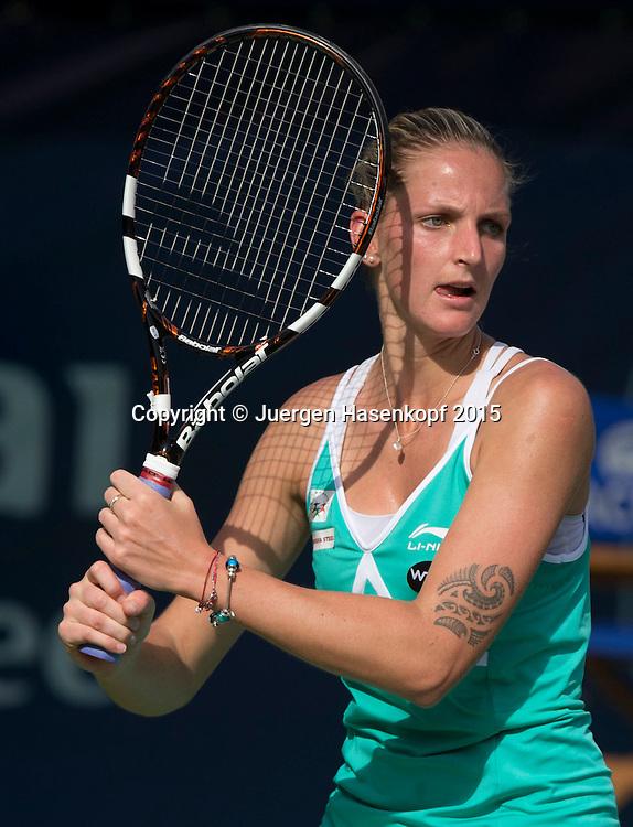 Karolina Pliskova (CZE), Tattoo,<br /> <br /> Tennis - Dubai Tennis Championships 2015 -  WTA -   - Dubai -  - United Arab Emirates  - 19 February 2015. <br /> &copy; Juergen Hasenkopf