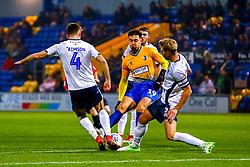 Will Aimson of Bury attempts to block the shot of Tyler Walker of Mansfield Town - Mandatory by-line: Ryan Crockett/JMP - 04/12/2018 - FOOTBALL - One Call Stadium - Mansfield, England - Mansfield Town v Bury - Checkatrade Trophy