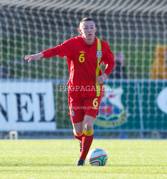 LLANELLI, WALES - Wednesday, February 6, 2013: Wales' Scott Tancock in action against Iceland during an International Friendly Under-21 match at Stebonheath Park. (Pic by David Rawcliffe/Propaganda)