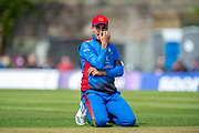 Afghan cricketer Sharafuddin Ashrad in the field during the One Day International match between Scotland and Afghanistan at The Grange Cricket Club, Edinburgh, Scotland on 10 May 2019.