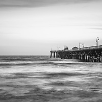 San Clemente pier black and white panoramic photography. Panoramic photo ratio is 1:3. San Clemente California is a popular beach town in Orange County in the United States of America. Copyright ⓒ 2017 Paul Velgos with all rights reserved.