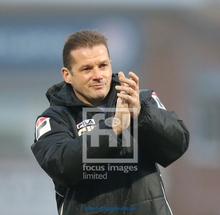 Stevenage manager Graham Westley claps the traveling fans after the Sky Bet League 2 match at Victoria Park, Hartlepool<br /> Picture by Simon Moore/Focus Images Ltd 07807 671782<br /> 14/02/2015
