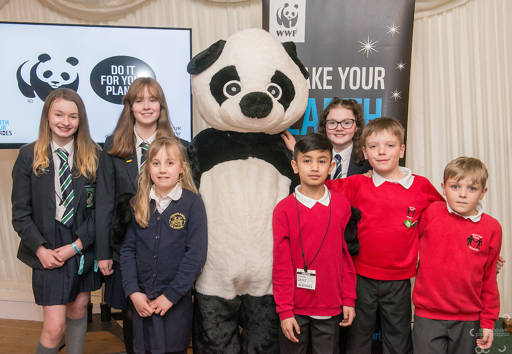 Primary and Secondary School winners  pose with Panda during the WWF UK Earth Hour 10th Anniversary Parliamentary Reception, Terrace Pavilion, Palace of Westminster. 28th Feb. 2017