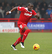 Crawley's Mathias Pogba on the ball during the Sky Bet League 1 match between Crawley Town and Sheffield Utd at the Checkatrade.com Stadium, Crawley, England on 28 February 2015. Photo by Phil Duncan.