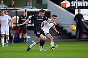 2nd Aug 2019, East End Park, Dunfermline, Fife, Scotland, Scottish Championship football, Dunfermline Athletic versus Dundee;  Lewis Martin of Dunfermline Athletic clears from Cammy Kerr of Dundee