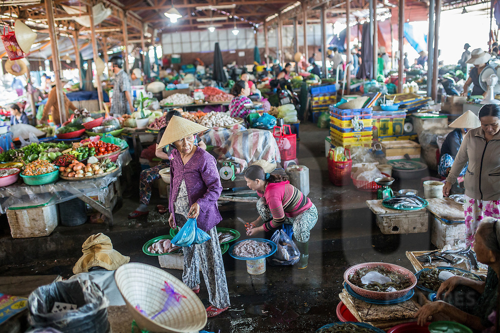 Morning activity on a local market of Hoi An, Vietnam, Southeast Asia