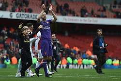 Arsenal goalkeeper Petr Cech waves good bye to the home fans at full time