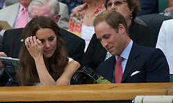 LONDON, ENGLAND - Monday, June 27, 2011: Newlyweds Kate Middleton and William Windsor, aka the Duke and Duchess of Cambridge, during the Gentlemen's Singles 4th Round match on day seven of the Wimbledon Lawn Tennis Championships at the All England Lawn Tennis and Croquet Club. (Pic by David Rawcliffe/Propaganda)