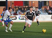 Dundee&rsquo;s Rhys Healey strides away from Kilmarnock&rsquo;s Conrad Balatoni - Dundee v Kilmarnock, Ladbrokes Premiership at Dens Park <br /> <br />  - &copy; David Young - www.davidyoungphoto.co.uk - email: davidyoungphoto@gmail.com