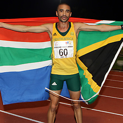Durban, SOUTH AFRICA, 26,June, 2016 - Elroy Gelant of South Africa in the Men 5000m Final during Day 5 The 20th CAA African Senior Athletics Championships will take place at the Kings Park Athletics Stadium in Durban, South Africa from June 22-26, 2016. (Photo by Steve Haag)