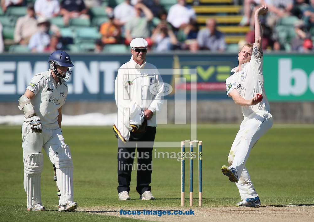 Picture by Paul Gaythorpe/Focus Images Ltd +447771 871632.25/05/2013.Chris Rogers of Middlesex County Cricket Club (batting) and Ben Stokes of Durham County Cricket Club bowling during the LV County Championship Div One match at Emirates Durham ICG, Chester-le-Street.