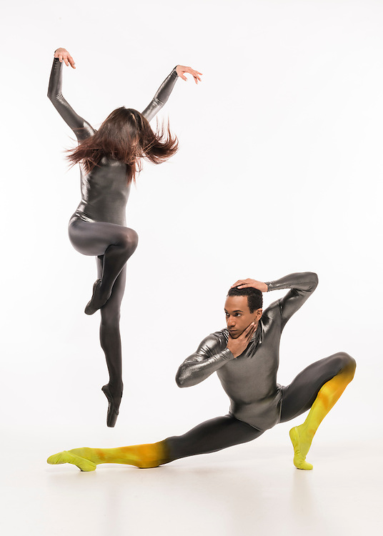 "Seo Hye Han and Ricardo Santos in Karole Armitage's ""Bitches Brew"" in costumes by Peter Speliopoulos for Boston Ballet's 'Mirrors' Ad campaign"