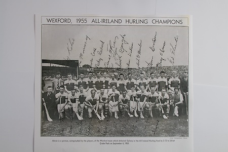 Wexford.Back Row (from left)  Kevin Sheehan, Paddy Kehoe, Jim Morrissey, Martin Codd, Nicky Rackard, Tom Ryan, Ted Bolger, Oliver Gough, William Wickham, Mick Hanlon, Tom Dixon, Harry O'Connor, Ned Wheeler, Front row (from left) Tim Russell, Tim Flood, Bobbie Rackard, Jim English, Paddy Kehoe, Mick Morrissey, Nick O'Donnell (captain), Art Foley, Chris Casey, Billy Rackard, Don Ahearne, Seamus Hearne, .