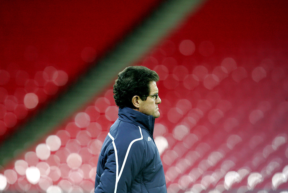 Fabio Capello takes charge of his first England training session in front of the media at Wembley Stadium, 4th Feb 2007.