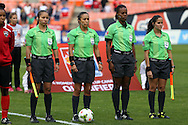 20 October 2014: Match officials. From left: Assistant referee Enedina Caudillo (MEX), Referee Lucila Venegas (MEX), Fourth official Mauree Skeete (GUY), and Assistant referee Kimberly Moreira (CRC). The Trinidad & Tobago Women's National Team played the Guatemala Women's National Team at RFK Memorial Stadium in Washington, DC in a 2014 CONCACAF Women's Championship Group A game, which serves as a qualifying tournament for the 2015 FIFA Women's World Cup in Canada. Trinidad and Tobago won the game 2-1 to secure advancement to the semifinals.