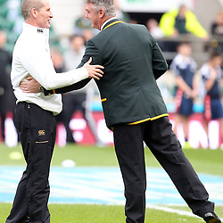 LONDON, ENGLAND - NOVEMBER 15: Stuart Lancaster (Head Coach)  with Heyneke Meyer (Head Coach) of South Africa  during the Castle Lager Outgoing Tour match between England and South African at Twickenham on November 15, 2014 in London, England. (Photo by Steve Haag/Gallo Images)