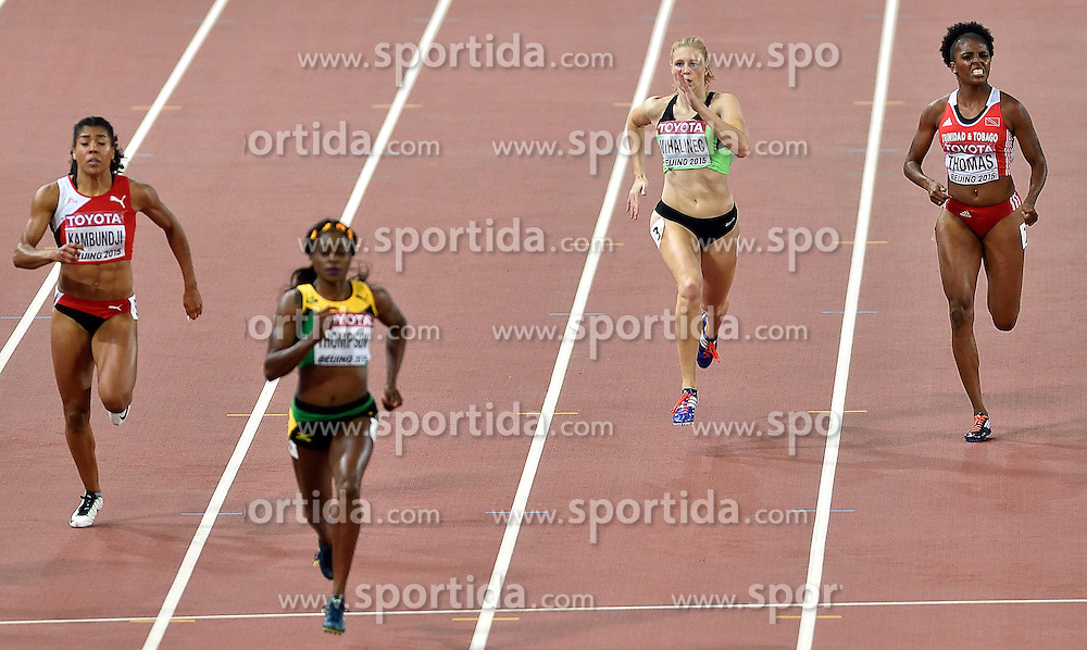 27-08-2015 CHN: IAAF World Championships Athletics day 6, Beijing<br /> Maja Mihalinec SLO run a personal best on the 200 m in 23.04<br /> Elaine Thompson JAM wins, Mujinga Kambundji 4th and Reyare Thomas USA 7th