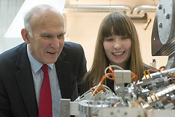 ***STRICT EMBARGO UNTIL 00:01 TUESDAY 9th DECEMBER**** © Licensed to London News Pictures. 08/12/2014. Oxford, UK UK VINCE CABLE and PAIGE McCONVILLE aged 16 an apprentice at the company. Business Secretary Vince Cable visits FMB Oxford, a high technology engineering firm, today 8th December 2014 to visit apprentices at the company. The Government has announced it has fulfilled its commitment to two million apprentices starting in the parliament. Photo credit : Stephen Simpson/LNP