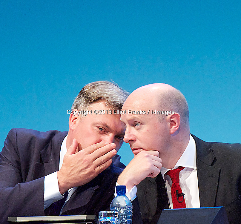 Labour Party Conference.<br /> <br /> Ed Balls (L) with Liam Byrne during the Labour Annual Conference at the Brighton Conference Centre, Brighton, United Kingdom. Monday, 23rd September 2013. Picture by Elliot Franks / i-Images