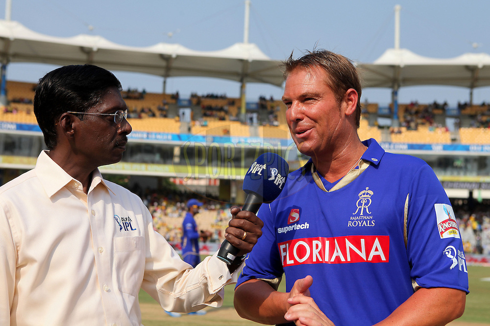 Shane Warne is interviewed before the toss during match 43 of the Indian Premier League ( IPL ) Season 4 between the Chennai Superkings and The Rajasthan Royals held at the MA Chidambaram Stadium in Chennai, Tamil Nadu, India on the 4th May 2011..Photo by Ron Gaunt/BCCI/SPORTZPICS