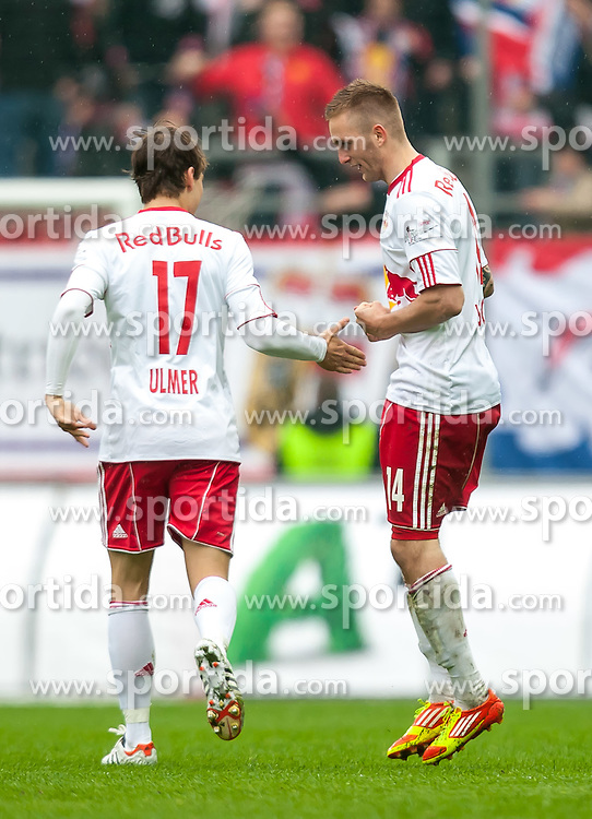 "07.04.2012, Red Bull Arena, Salzburg, AUT, 1. FBL, FC Red Bull Salzburg vs FC Wacker Innsbruck, 29. Spieltag im Bild Torjubel nach dem 1 zu 0 durch Jakob Jantscher, (Red Bull Salzburg, #14), rechts mit Andreas Ulmer, (Red Bull Salzburg, #17) links // during the Austrian ""Bundesliga"" Match, 29th Round, between FC Red Bull Salzburg and FC Wacker Innsbruck at the Red Bull Arena, Salzburg, Austria on 2012/04/07. EXPA Pictures © 2012, PhotoCredit: EXPA/ Juergen Feichter"