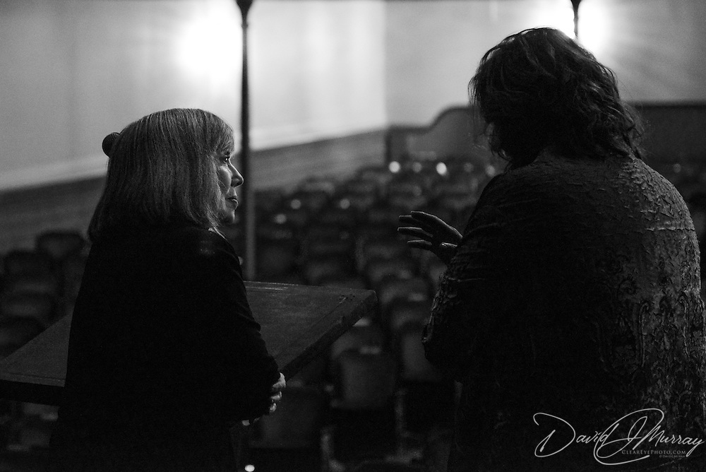 Author Anne Rice surveys the hall in the afternoon before speaking at a Writers on a New England Stage show at The Music Hall in Portsmouth, NH