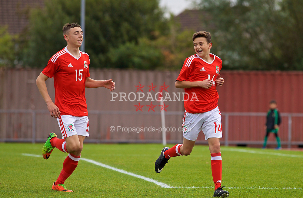 NEWPORT, WALES - Sunday, September 24, 2017: Wales' Owen Beck [R #14] celebrates scoring the second goal with team-mate Callum King-Harmes during an Under-16 International friendly match between Wales and Gibraltar at the Newport Stadium. (Pic by David Rawcliffe/Propaganda)