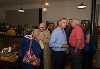 Press conference at the Wayfarer Coffee Roasters to announce the purchase of the Colonial Theater by BEDC and the City of Laconia.  Karen Bobotas for the Laconia Daily Sun