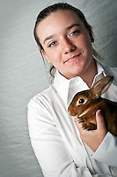 JEROME A. POLLOS/Press..Gina Weitzel, 13, won her grand champion award in breeding for her 5-month-old castor colored mini Rex named Zena. It's a fourth generation rabbit raised through her family.