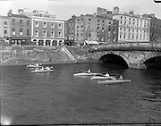 17/04/1960<br /> 04/17/1960<br /> 17 April 1960<br /> Canoeing on the River Liffey, Dublin. Members of the Dun Laoghaire Canoe Club make a pleasant picture as they paddle their way up the River Liffey in the sunshine of Easter Sunday. This was Boat Show Week in Dublin and the show was officially opened in Busarus the next day.