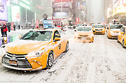 "The ""Bomb Cyclone"" snow storm in Times Square in New York, NY on January 4, 2018"