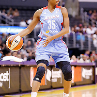 08 August 2014: Atlanta Dream guard/forward Angel McCoughtry (35) looks to pass the ball during the Los Angeles Sparks 80-77 overtime win over the Atlanta Dream, at the Staples Center, Los Angeles, California, USA.
