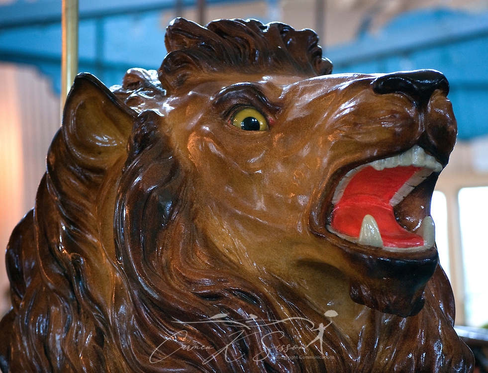A painted lion is among the fanciful zoo animals at the Dentzel Carousel Jan. 15, 2011 in Meridian, Miss. The carousel, which was built in 1896, is hand-carved and painted and is listed on the National Register of Historic Places. It is one of only 11 carousels nationwide to be named a National Landmark, and it is located in the only carousel building that remains from Dentzel's original blueprint. The carousel is open on Saturdays from 1 p.m. to 5 p.m. through March. Rides are 50 cents per person. (Photo by Carmen K. Sisson/Cloudybright)
