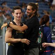 Roma 08/06/2017 Stadio Olimpico<br /> Diamond League : Golden Gala<br /> l'abbraccio tra Filippo Tortu e Gianmarco Tamberi
