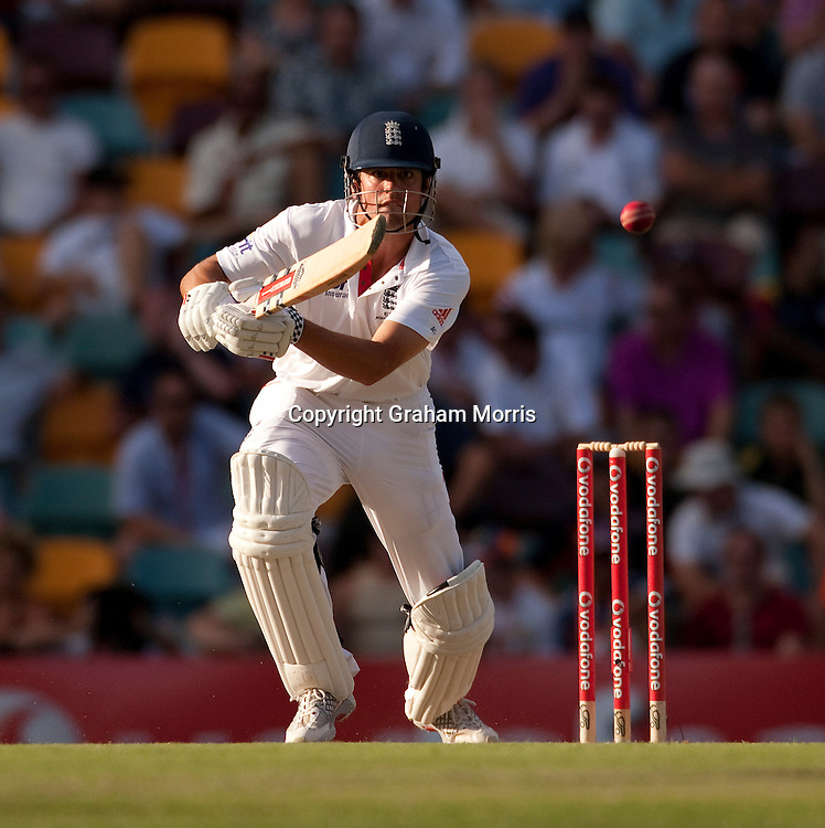 Alastair Cook bats during the first Ashes Test Match between Australia and England at the Gabba, Brisbane. Photo: Graham Morris (Tel: +44(0)20 8969 4192 Email: sales@cricketpix.com) 27/11/10