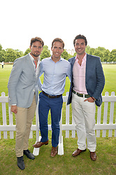 Left to right, STEPHEN BOWMAN, HUMPHREY BERNEY and OLIVER BAINES at the Flannels for Heroes Cricket tournament in association with Dockers in aid of the charities Walking With The Wounded, On Course Foundation and Combat Stress held at Burton Court, London on 20th June 2014.