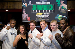 February 14, 2006 - New York, NY - The fighters pose during the press conference announcing the upcoming fight card on March 16th at Madison Square Garden.  (L to R) Peter Quillen, Maureen Shea, John Duddy, Shelby Pudwill, and James Moore.