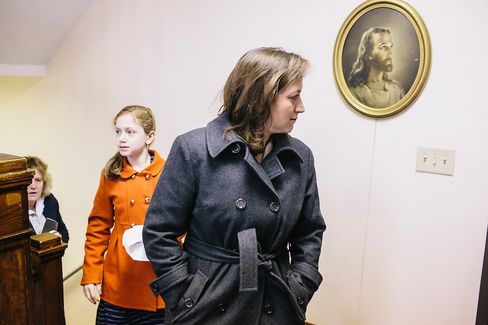 West Virginia Secretary of State Natalie Tennant, right , and her daughter Delaney, left, head to their car after Tennant introduced herself to guests at Romney First United Methodist Church in Romney, W.V. during a Lenten Luncheon on Wednesday, April 16, 2014. Tennant is running for a US Senate seat in West Virginia against Republican Rep. Shelley Moore Capito.