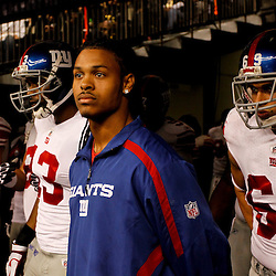 November 28, 2011; New Orleans, LA, USA; Injured New York Giants defensive back Chad Jones waits with teammates in the tunnel prior to kickoff of a game against the New Orleans Saints at the Mercedes-Benz Superdome. Mandatory Credit: Derick E. Hingle-US PRESSWIRE