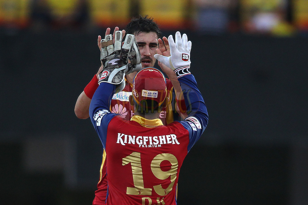 Mitchell Starc of the Royal Challengers Bangalore is congratulated by Dinesh Karthik of the Royal Challengers Bangalore for bowling Pawan Negi of Chennai Super Kings during match 37 of the Pepsi IPL 2015 (Indian Premier League) between The Chennai Superkings and The Royal Challengers Bangalore held at the M. A. Chidambaram Stadium, Chennai Stadium in Chennai, India on the 4th May April 2015.<br /> <br /> Photo by:  Shaun Roy / SPORTZPICS / IPL