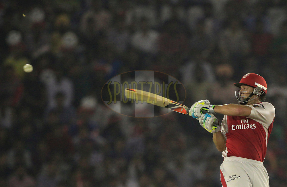 Kings XI Punjab captain Adam Gilchrist  plays a shot during match 54 of the Indian Premier League ( IPL ) Season 4 between the Kings XI Punjab and the Mumbai Indians held at the PCA stadium in Mohali, Chandigarh, India on the 10th May 2011..Photo by Pankaj Nangia/BCCI/SPORTZPICS
