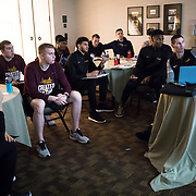 Loyola University Chicago Men's Basketball players watch film to prepare for their upcoming game in the NCAA Tournament against the University of Miami in Dallas, TX.,  This is the basketball team's first appearance since 1985. (Photo: Lukas Keapproth)