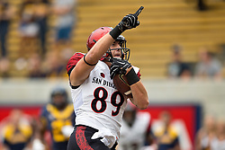 BERKELEY, CA - SEPTEMBER 12:  Tight end Daniel Brunskill #89 of the San Diego State Aztecs celebrates after scoring a touchdown against the California Golden Bears during the first quarter at California Memorial Stadium on September 12, 2015 in Berkeley, California. (Photo by Jason O. Watson/Getty Images) *** Local Caption *** Daniel Brunskill