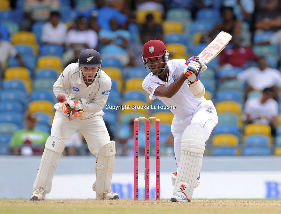 West Indies batsman Kraigg Brathwaite drives on his way to his half century during day two of the Third and Final Test West Indies v New Zealand at Kensington Oval, Barbados.<br /> Photo: Randy Brooks/www.photosport.co.nz