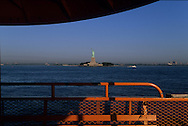 New york Downtown Manhattan skyline and the statue of liberty  view from Staten island ferry