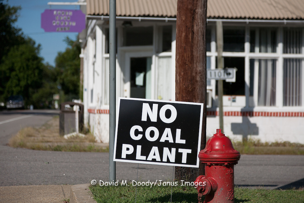 """""""No Coal Plant"""" anti coal fired electric power generating plant. sign in Surry County, Virginia"""